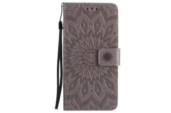 (iPhone 7 Plus [14cm ], Gray) - iPhone 7 Plus Wallet Case,A-slim(TM) Sun Pattern Embossed PU Leather Magnetic Flip Cover Card Holders & Hand Strap Wallet Purse Case for iPhone 7 Plus [14cm ] - Grey