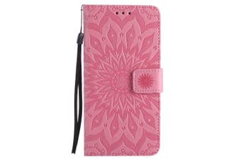 (iPhone 7 [12cm ], Pink) - iPhone 7 Wallet Case,A-slim(TM) Sun Pattern Embossed PU Leather Magnetic Flip Cover Card Holders & Hand Strap Wallet Purse Case for iPhone 7 [12cm ] - Pink