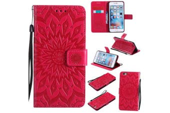 (iPhone 6 / 6S [12cm ], Red) - iPhone 6 / 6S Wallet Case,A-slim(TM) Sun Pattern Embossed PU Leather Magnetic Flip Cover Card Holders & Hand Strap Wallet Purse Case for iPhone 6 / 6S [12cm ] - Red