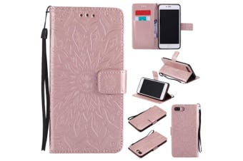 (iPhone 7 Plus [14cm ], Rose Gold) - iPhone 7 Plus Wallet Case,A-slim(TM) Sun Pattern Embossed PU Leather Magnetic Flip Cover Card Holders & Hand Strap Wallet Purse Case for iPhone 7 Plus [14cm ] - Rose Gold