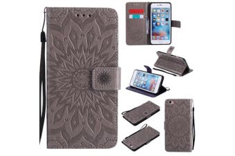(iPhone 7 [12cm ], Gray) - iPhone 7 Wallet Case,A-slim(TM) Sun Pattern Embossed PU Leather Magnetic Flip Cover Card Holders & Hand Strap Wallet Purse Case for iPhone 7 [12cm ] - Grey