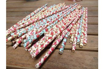 (Style 1) - Paper Straws (100 Pc) - Flower Design Drinking Straw Pink, Yellow and Blue Colour Biodegradable Non-Toxic Straaws Baby Shower Birthday Wedding Engagement Party Favour Cupcake Topper Decorative Straws