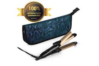 (Black) - 2-in-1 Mini Hair Straightener Travel Flat Iron/Curling Iron Dual Voltage 374 Degree Temperature Nano Titanium - Insulated Carry Bag Included (Black)