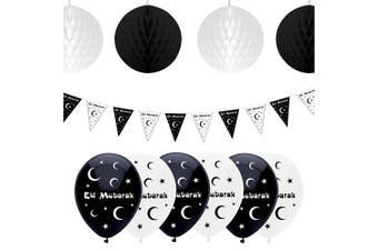 Eid Mubarak Ramadan Celebration Decoration Balloons, Bunting & Hanging Honeycomb Balls (Black/White)