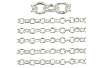 "(3.5mm width, silver) - COIRIS 500"" Length 3.5MM Width Silver Colour Jewellery Making Chain (PN-1023-3.5S)"
