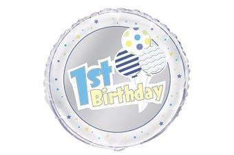 (Blue 1st Birthday) - Unique Party 143980cm - 46cm Foil Blue 1st Birthday Balloon