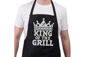 (One size, Black) - Funny BBQ Apron Novelty Aprons Cooking Gifts for Men King Of The Grill