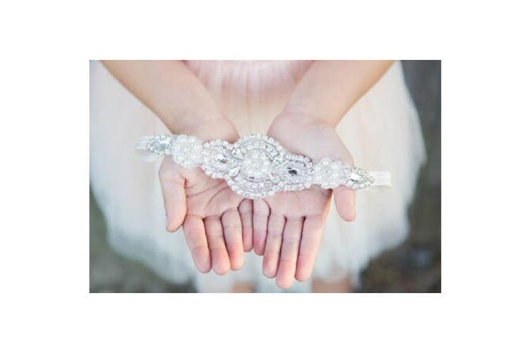 (4) - FXmimior Head Piece Flower Girl Wedding Crystal Rhinestones Headband Hair Accessories Headwear (4)