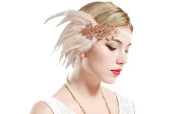 (Champagne) - BABEYOND 1920s Flapper Headpiece Roaring 20s Great Gatsby Headband Vintage Feather Headband 1920s Flapper Gatsby Hair Accessories (Champagne)