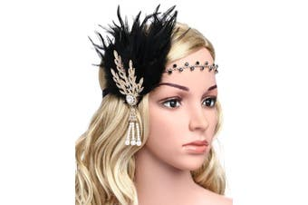 (Gold and Black Feather) - BABEYOND Art Deco 1920's Flapper Great Gatsby Inspired Leaf Medallion Pearl Headband Black Feather (Gold and Black Feather)