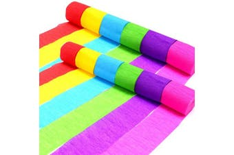 Coceca 36 Rolls Crepe Paper Streamers, 6 Colours, for Birthday Party, Class Party,Family Gathering ,Graduation Ceremony Decorations