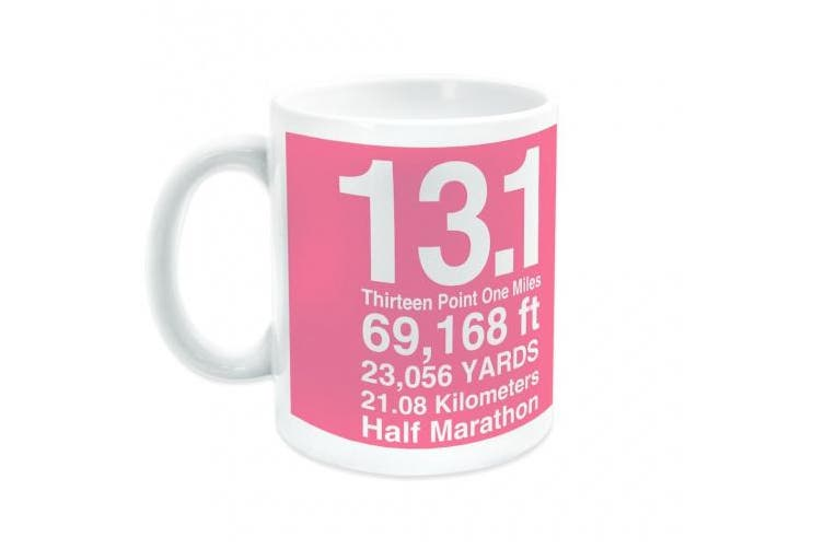 (Pink) - Gone For a Run Half Marathon Ceramic Mug 13.1 Math Miles - Pink