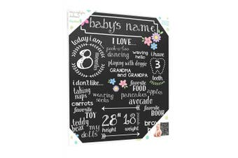 Tiny Ideas Baby's Monthly Chalkboard, Girl, Black