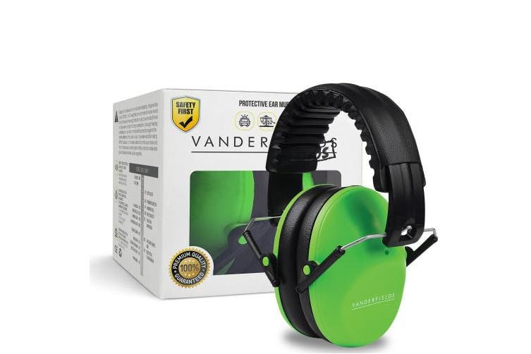 (Green Trooper) - Vanderfields Earmuffs for Kids – Hearing Protection Muffs For Children Small Adults Women – Foldable Design Ear Defenders Protector with Adjustable Padded Headband for Optimal Noise Reduction - Green