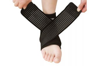 (Black) - Compression Ankle Brace Support Strap Foot Stabiliser for Plantar Fasciitis,Arthritis,Tendonitis,Post Surgery, Ankle Guard for Sports Fitness Basketball Football Netball Running Volleyball