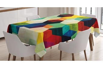 (150cm  W By 230cm  L, Multi 7) - Vintage Tablecloth by Ambesonne, Rhombus Pattern Grunge Effect Hexagonal Pattern Colourful Geometric Mosaic Artwork, Dining Room Kitchen Rectangular Table Cover, 60W X 90L Inches, Multicolor