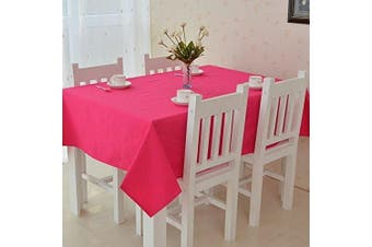 (Hot Pink) - All For You Rectangular Fabric Table Cloth,Rectangle Washable Dinner Picnic Table Cloth,Assorted Colours- SIZE 130cm X 180cm (Hot Pink)