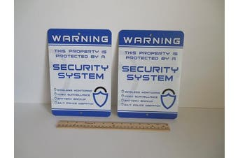 2 Home Security Alarm Security System 18cm x 25cm Metal Yard Signs - Stock # 719