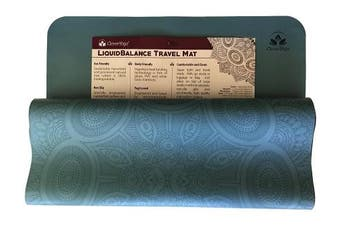(Blue) - Clever Yoga Premium LiquidBalance Travel Mat Eco and Body Friendly Sweat Grip Non-Slip With Carrying Yoga Bag