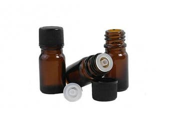 10Pcs 5ml Amber Glass Essential Oil Sample Bottles Vials With Orifice and Cap for Perfume Aromatherapy Container