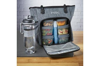 Fit & Fresh Jaxx FitPak Commuter Meal Prep Tote with Portion Control Containers & 710ml Shaker Bottle