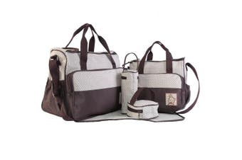 (Coffee) - Adoraland 5 Pieces Baby Changing Bag Coffee