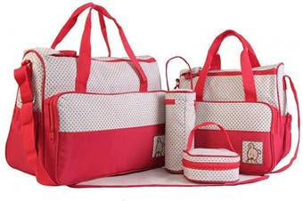 (Red) - Adoraland 5 Pieces Baby Changing Bag Red