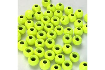 """(2.8 mm (7/64""""), fluro yellow) - Aventik 50pc Brass Beads Tapered Hole Fly Tying Materials Lure Jig 10 Colours / 5 Sizes Fly Fishing"""