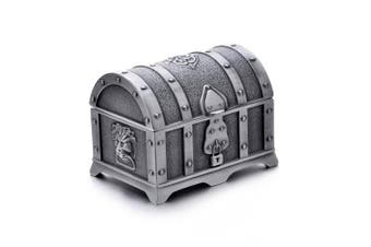 (Small, Tin) - Rectangle Vintage Metal Treasure Chest Trinket Jewellery Box Gift Box Ring Case for Girls Ladies Women, Small, Ancient tin colour