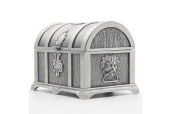 (Large, Tin) - Rectangle Vintage Metal Treasure Chest Trinket Jewellery Box Gift Box Ring Case for Girls Ladies Women, Large, Ancient tin colour