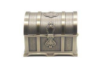 (Large, Bronze) - Rectangle Vintage Metal Treasure Chest Trinket Jewellery Box Gift Box Ring Case for Girls Ladies Women, Large, Bronze