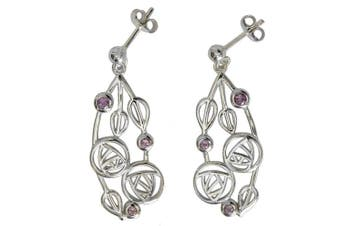 "Cairn 151 Silver Rennie . Drop Earrings - ""Highback"" Set With Amethysts. Tarnish Resistant. British Made. Rennie . Jewellery."