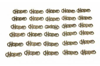 (Hope-13x37mm-Antique Bronze) - 30pcs Hope Charm Pendant Connector for DIY Necklace Bracelet Jewellery Making Findings(Antique Bronze)