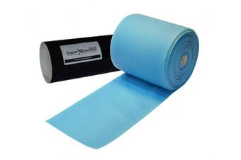 (f. Sky Blue MEDIUM -- 16 Yards) - Super Exercise Band USA Latex Free Resistance Bands in 8 and 16 Yard Bulk Rolls. 10 Elastic Strengths in Light, Medium or Heavy for Training, Physical Therapy, Yoga, Pilates, Rehab, Chair Workouts.