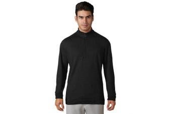(Small, Black Heather) - adidas Golf Men's Wool 1/4 Zip Pullover
