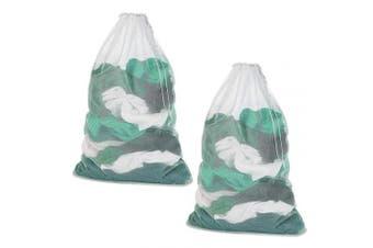 (2pcs) - Meowoo Mesh Laundry Wash Bag,White Drawstring Washing Machine Bag,Large Size 23×90cm for Clothes, Beddings,Curtain,Tablecloth(2PCS)