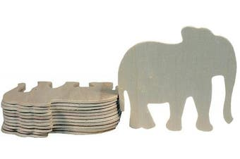 Creative Hobbies 10cm Unfinished Wooden Elephant Shapes, Pack of 12, Ready to Paint or Decorate