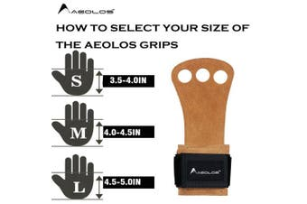 (X-Small, Brown(2 layers leather)) - AEOLOS Leather Gymnastics Hand Grips-Great for Gymnastics,Pull up,Weight Lifting,Kettlebells and Crossfit Training