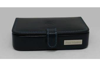 (Blue) - REAL MADRID -Premium European Leather - Handmade Tie Pin or Bar. Cufflink Storage Case-. Colour Blue RMJ-80006