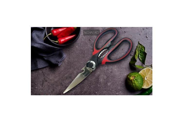 (Black/Red) - NOVASKO Premium Heavy Duty Kitchen Shears (Black/Red)