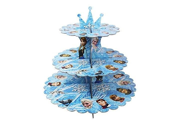 (blue & cake) - 3-tier Cardboard Party Cupcake Display Stand/ Dessert Stand/ Tea Party Pastry Serving Platter/ Food Display Stand-blue & cake