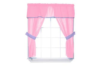 (Pink/Lavender) - Baby Doll Bedding Solid Two Tone 5-Piece Window Valance Curtain Set, Pink/Lavender