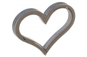(Stone-Tumbled) - Bico Keyklipz Heart Titanium Keyring/Carabiner: Stone Finish (KR35B)