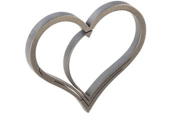 (Stone-Tumbled) - Bico Keyklipz Heart Titanium Keyring/Carabiner: Stone Finish (KR35A)