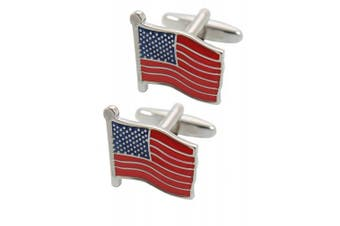 COLLAR AND CUFFS LONDON - Classic HIGH QUALITY Flag Of The United States Of Amerca Executive Cufflinks - Brass - Silver Blue and Red Colours - The Stars and Stripes - Presentation Gift Box Included