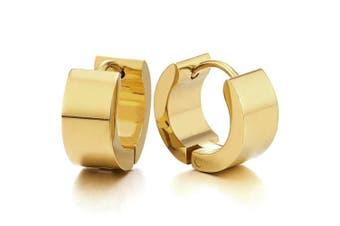 Pair of Gold Huggie Hinged Hoop Earrings Unisex Men Women