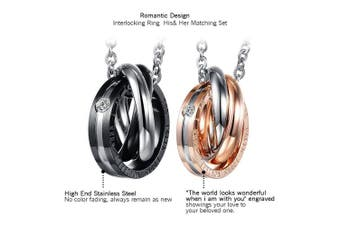 Cupimatch 2PCS Triple Rings Interlocking His & Her Matching Set Stainless Steel Couples Pendant Necklace, 46cm & 50cm Chain Included