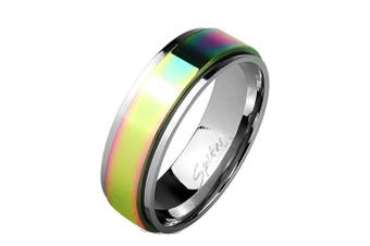 (X 1/2) - Blue Palm Jewellery - Rainbow Ion Stainless Steel Centre Spinner Men's or Women's Band Ring R633