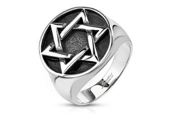 (13) - Blue Palm Jewellery - Star of David Medallion Cast Wide Cast Ring Stainless Steel Band Ring R670