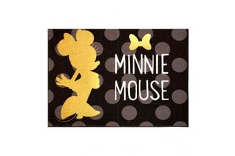 Disney Minnie Mouse Rug 2017 HD Edition Invisible solid Gold Minnie Polka Dot Girls Room Décor Wall Decals Bedding Area Throw Rugs 40x54, Black